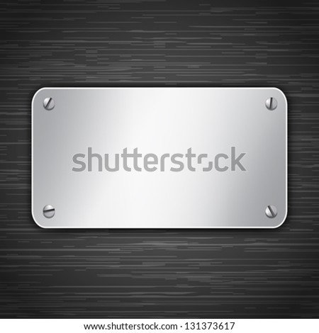 Metallic tablet attached with screws. Blank banner on dark brushed metallic background. Vector illustration - stock vector