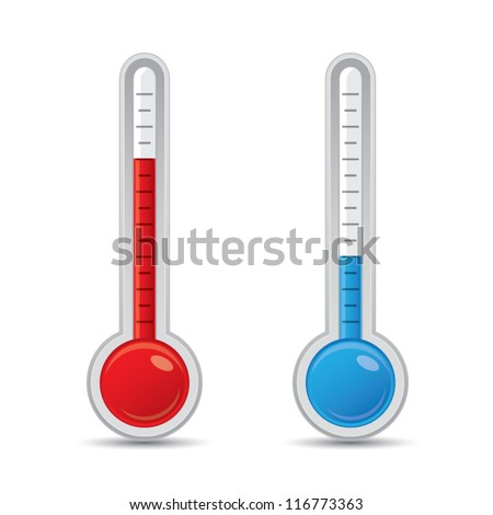 Metallic thermometer with scale measuring heat and cold, vector illustration - stock vector