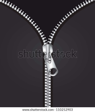 metallic zipper over black background. vector illustration - stock vector