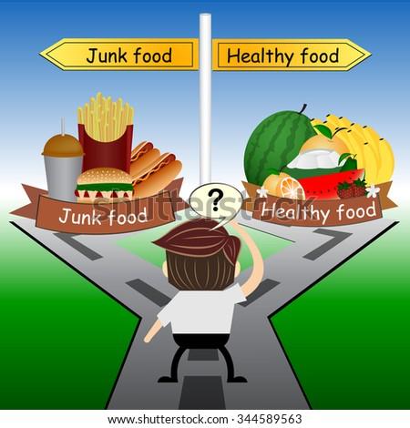 metaphor humour design ,Choose between healthy food and junk food - stock vector