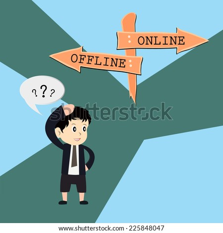 metaphor humour design , online vs offline - stock vector
