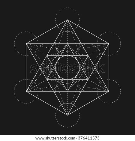Metatron's Cube. Flower of life. Vector Geometric Symbol isolated. Sacred Geometric Figure named Metatrons Cube. Holy Glyph. - stock vector
