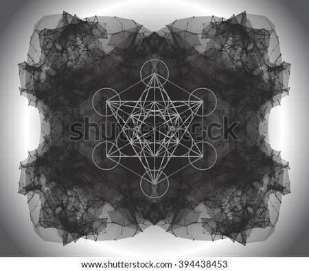 Metatrons Cube - Flower of Life. Vector Illustration. Wire frame mesh polygonal element. Abstract form with connected lines and dots. Polygonal background, sacred design, dot clusters triangle - stock vector