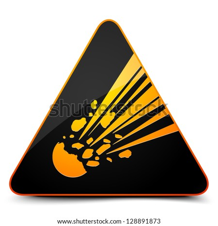 Meteor Hazard Sign - stock vector