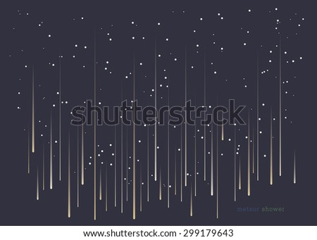 Meteor shower minimal design background in landscape format.  - stock vector