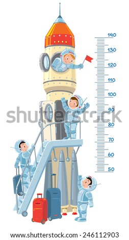 Meter wall or height meter with rocket and four small smiley boys-astronauts. Children vector illustration - stock vector