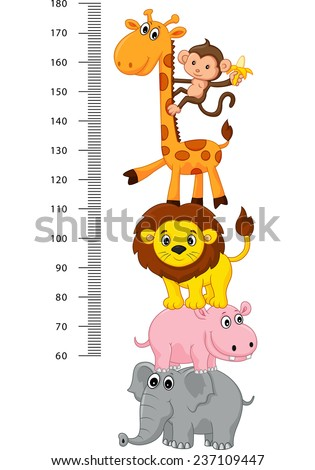 Meter wall with funny Cheerful animals - stock vector