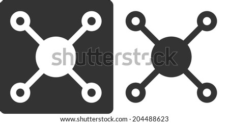 Methane (CH4) natural gas molecule, flat icon style. Atoms shown as circles (carbon - large white/grey, hydrogen - small grey/white). - stock vector