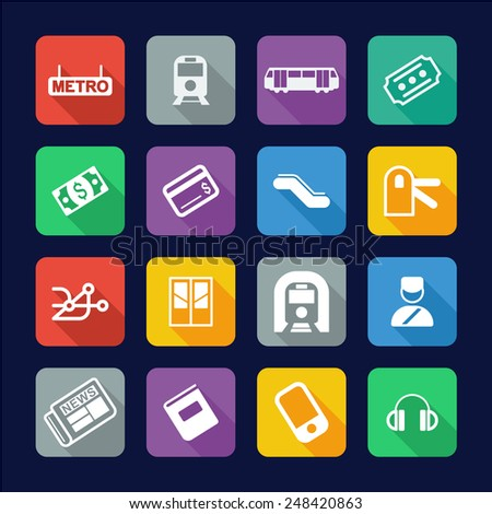 Metro Or Subway Icons Flat Design - stock vector