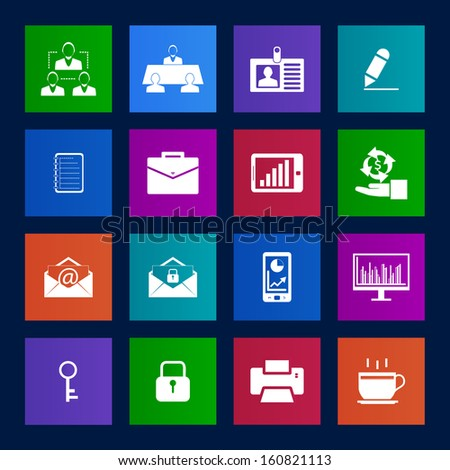 Metro style Business and office icons set.Vector eps 10 - stock vector