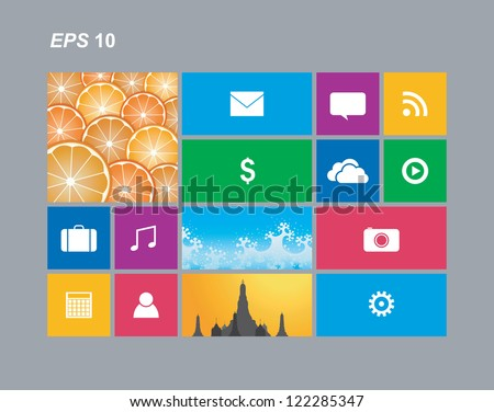 Metro style with app cells Isolated, Vector - stock vector