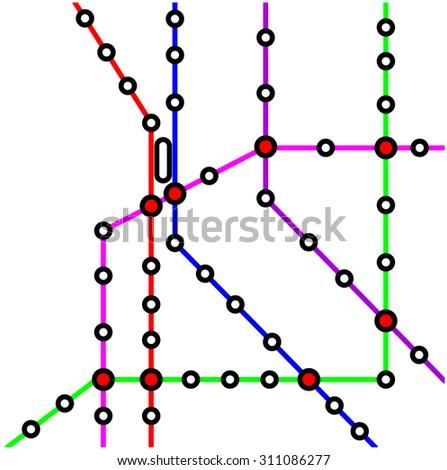 metro (subway) map design template. transportation concept  - stock vector