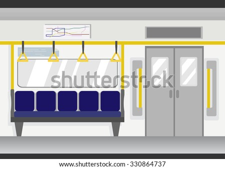 metro subway train interior vector  - stock vector