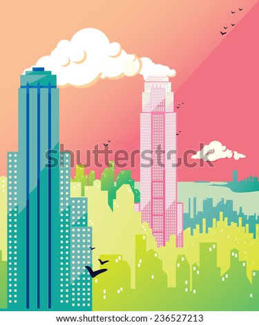 Metropolis flat illustration by day: skyline of  skyscrapers with clouds and birds. Vector colorful image, pink sky, long shadow - stock vector