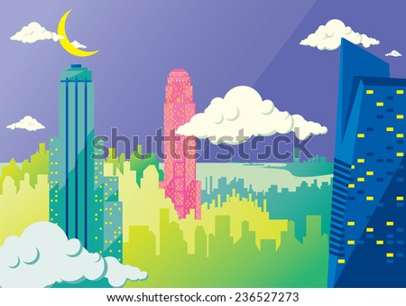 Metropolis flat illustration by night: skyline of  skyscrapers with clouds and moonlight. Vector colorful image, pastel colors, long shadow - stock vector