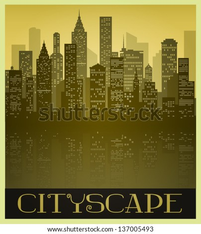 Metropolitan Cityscape in Sepia tones and Vintage Style - stock vector