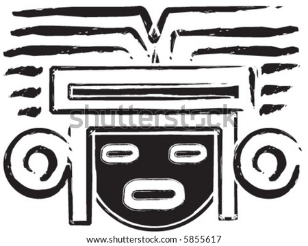Mexican Aztec Mask - stock vector