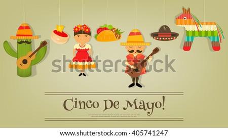 Mexican Card in Retro Style. Cinco de Mayo. Vector Illustration. - stock vector
