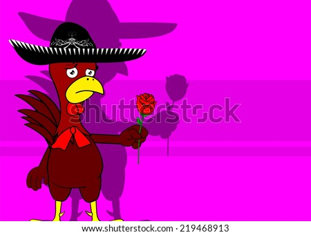 mexican chicken with hat background in vector format - stock vector