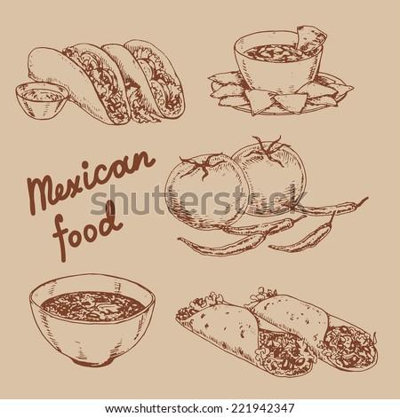 mexican cuisine - stock vector