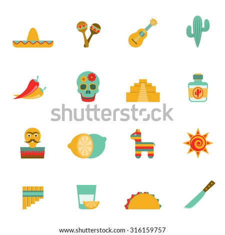 Mexican culture symbols flat icons set with tequila cocktail and hot chili peppers abstract isolated vector illustration - stock vector