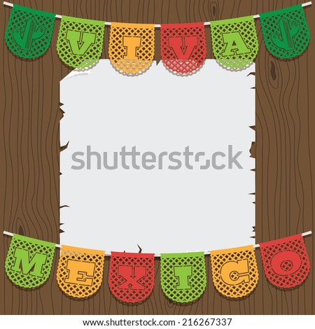 mexican decoration, with viva mexico (long live mexico) paper bunting ornament and space for your text - stock vector