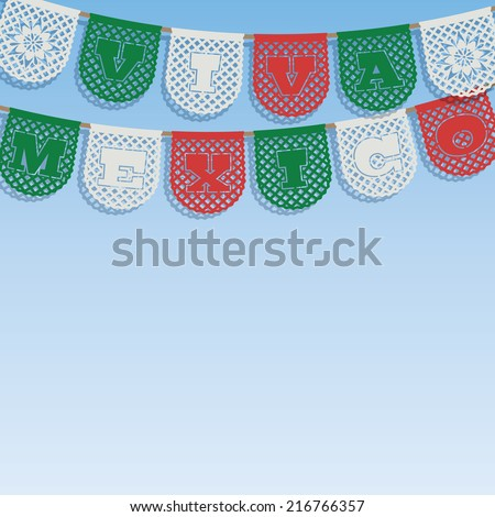 mexican decoration, with viva mexico (long live mexico) paper bunting ornaments on blue sky background, with clipping path - stock vector