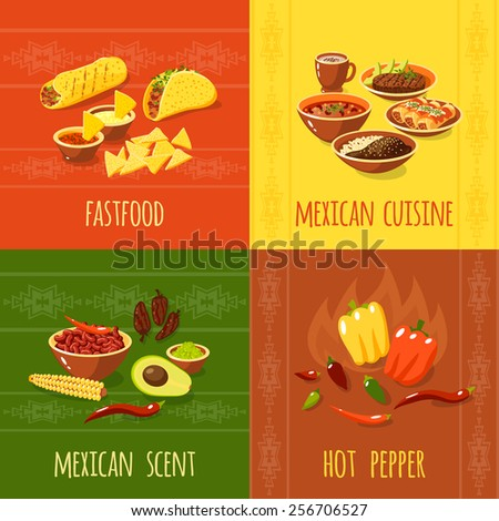 Mexican design concept set with fast food cuisine scent hot pepper icons isolated vector illustration - stock vector