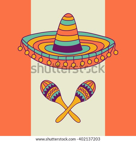 Mexican design with sombrero and cactus, vector illustration - stock vector