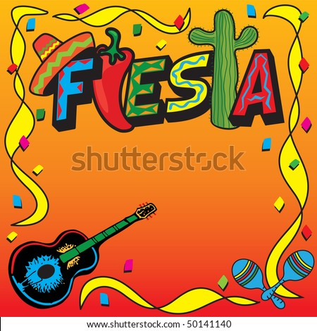 Mexican Fiesta Party Invitation with room for your type - stock vector