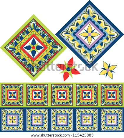 Mexican floral tile in the Talavera style with new trendy colors. - stock vector