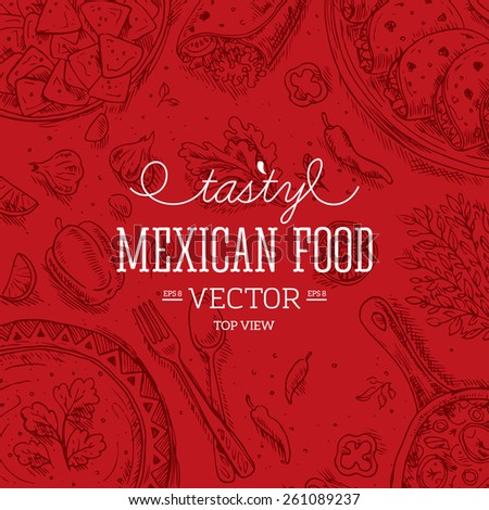 Mexican Food Frame. Linear graphic. Vector illustration - stock vector