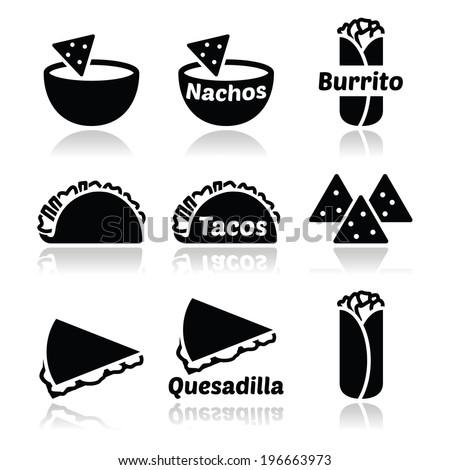 Mexican food icons - tacos, nachos, burrito, quesadilla  - stock vector