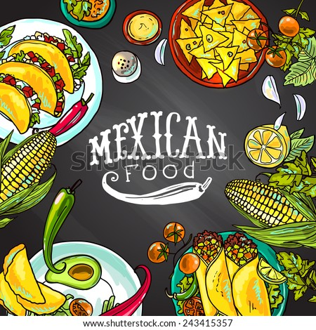 mexican food- illustration on the chalkboard - stock vector