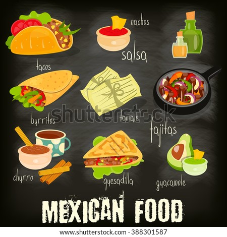 Mexican Food Menu Card with Traditional Spicy Meal on Chalkboard Background. Vector Illustration. - stock vector