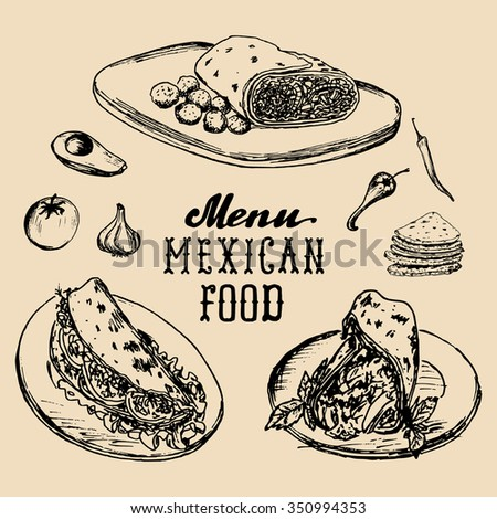 Mexican food menu in vector. Burritos, nachos, tacos illustrations. Vintage hand drawn Mexican quick meals collection. Hipster snack bar, fast-food restaurant icons. - stock vector