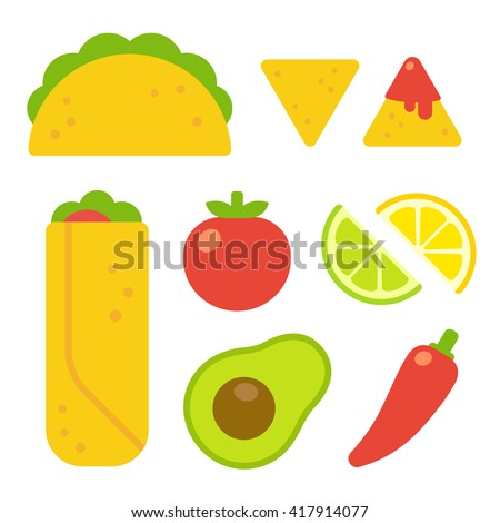 Mexican food set in flat vector cartoon style. Taco and burrito, nachos with salsa, traditional ingredients like tomato, avocado and chili pepper. - stock vector
