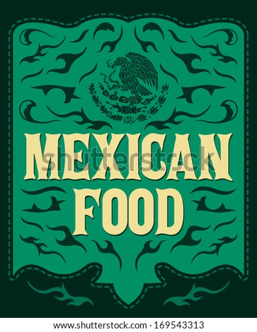 Mexican Food - Vintage restaurant menu design - western style - stock vector