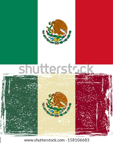 Mexican grunge flag. Vector illustration. - stock vector