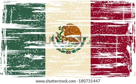 Mexican grunge flag. Vector illustration. Grunge effect can be cleaned easily. - stock vector