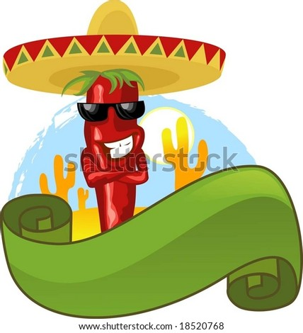 Mexican hot chili and green banner - stock vector