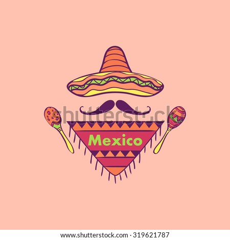 Mexican label and emblem- sombrero, maracas, mustaches. Isolated national elements made in vector. - stock vector