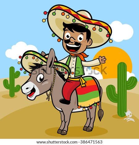 Mexican man riding a donkey in the desert. - stock vector