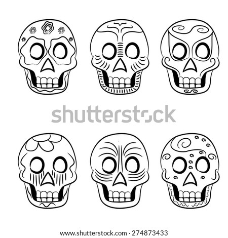 Mexican masks black and white for holiday on a white background - stock vector