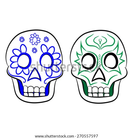 Mexican masks for Cinco e Mayo on a white background - stock vector