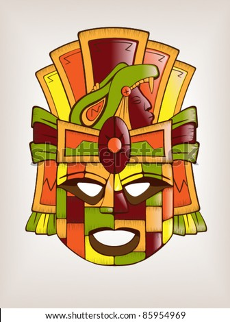 Mexican Mayan or Aztec Wooden Mask - stock vector