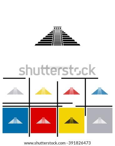 Mexican mayan pyramid icon or mexican mayan pyramid sign. Vector mexican mayan pyramid pictogram - stock vector