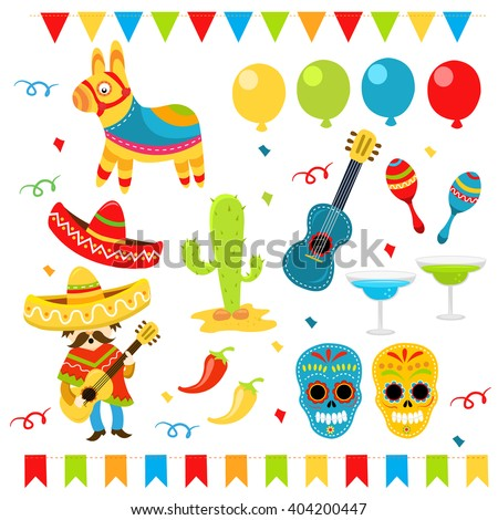 Mexican Party Elements - stock vector