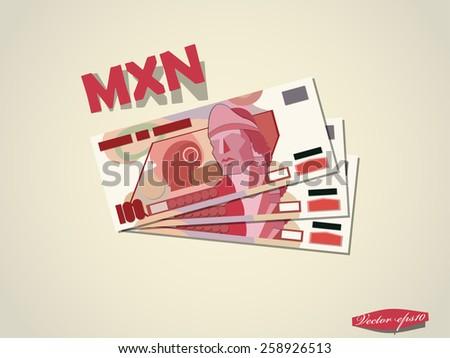 mexican peso money paper vector design - stock vector