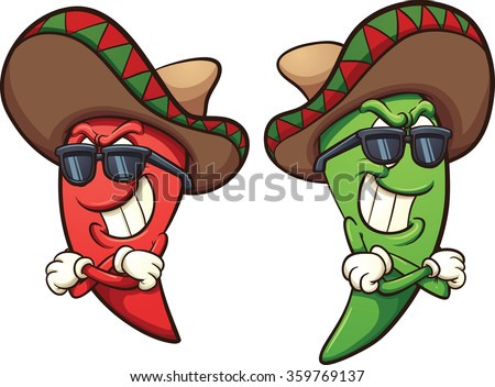Mexican red and green chili peppers. Vector clip art illustration with simple gradients. Shades and peppers on separate layers.  - stock vector